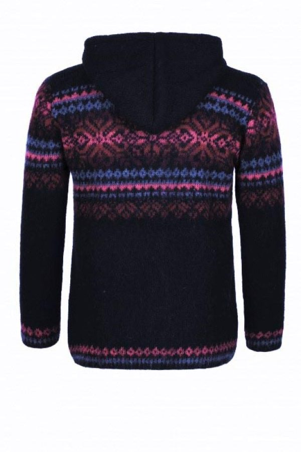 Hoodie Drangi: Black Hoodie with pink pattern and a full-length zipper