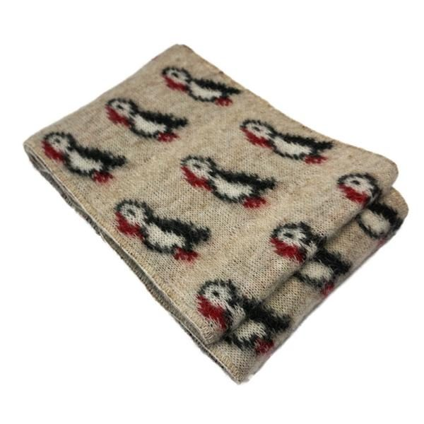Wool Scarf Puffin with little puffins. Available in beige and blue
