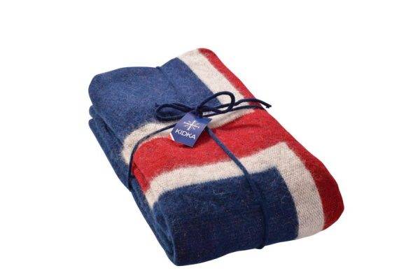 Wool Blanket Icelandic Flag in red, blue and white.