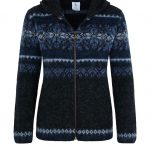 Hoodie Drangi: Zipped Cardigan black with blue pattern and a hood