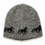 Icelandic Wool Cap in grey with a beautiful Icelandic horse pattern in black and cottonlining