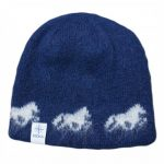 Icelandic Wool Cap in blue with white Icelandic horse pattern and cotton lining