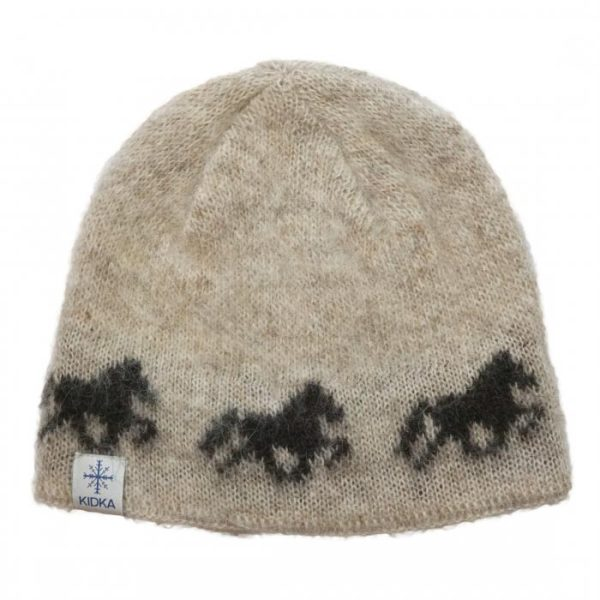 Icelandic Wool Cap in light beige with darkbrown Icelandic horse pattern and cotton lining