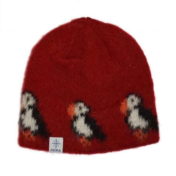Red Wool Cap Puffin mit Black and White puffin pattern. Cottonlining.
