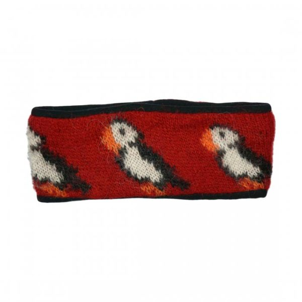 Headband Puffin in red with white and black Puffin pattern. Fleecelined