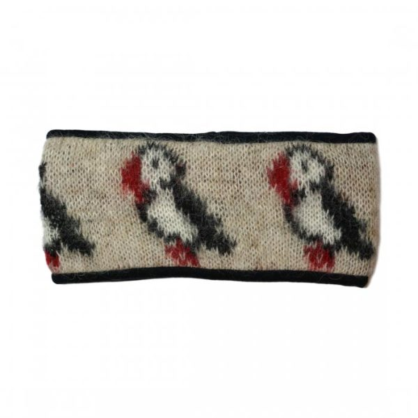 Headband Puffin in beige with white and black Puffin pattern. Fleecelined