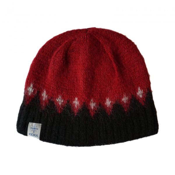 Red wool cap with black and white pattern. Cottonlining.