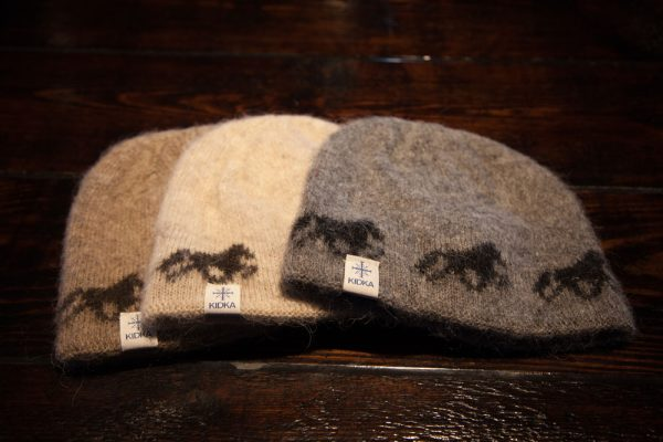 Grey, beige and brown Icelandic horse wool caps