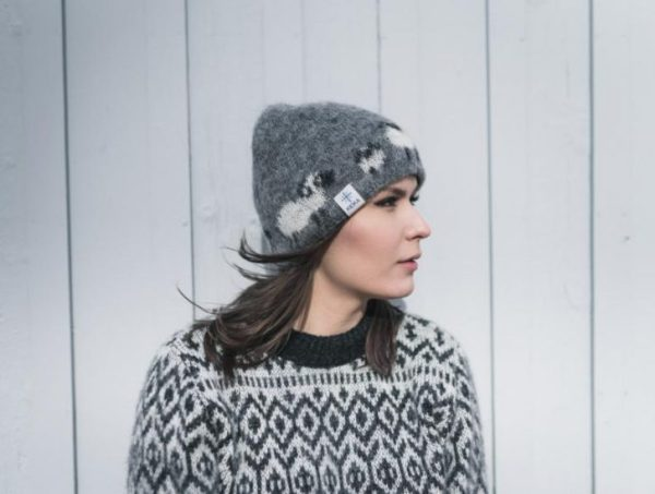 Wool Cap Kind: Light grey wool cap with white and black Icelandic sheep pattern,lined with cotton.