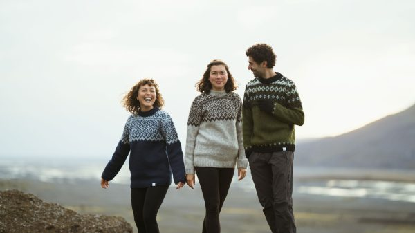Sweater Þing: Green Sweater with Black and White traditional pattern