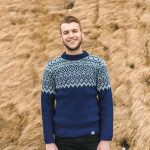 Icelandic Sweater Borg is a blue with white pattern