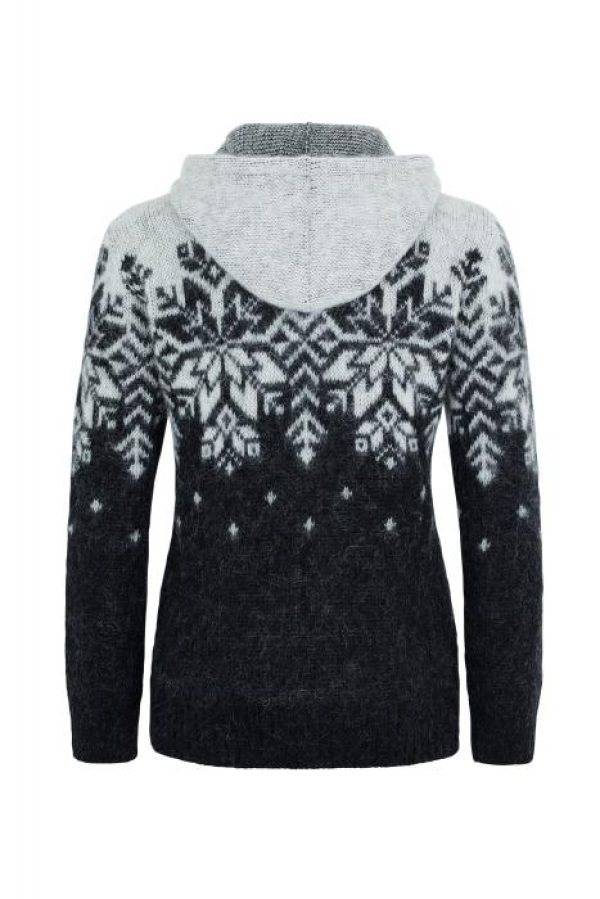 Hoodie Ás: Black Hoodie with white pattern and a full-length zipper