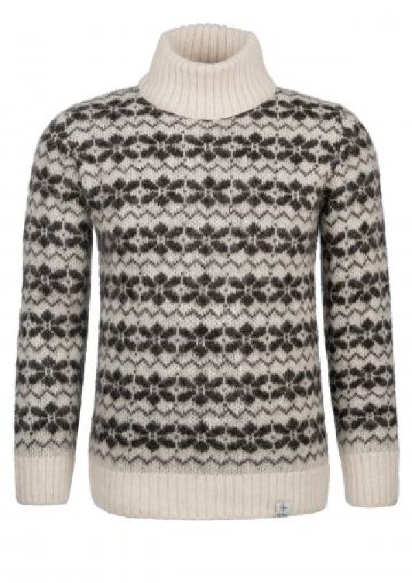 Sweater Vinur: White turtleneck sweater with brown all-over pattern