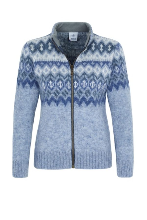 Light blue cardigan with a traditional pattern, full-length zipper and fleece-lined collar