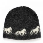 Icelandic wool cap in black with white Icelandic horse pattern and cottonlining.