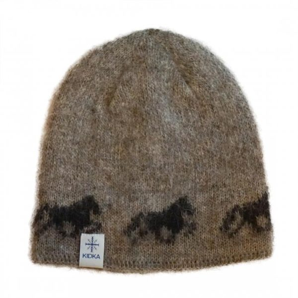Icelandic Wool Cap in brown with black Icelandic horse pattern and cotton lining