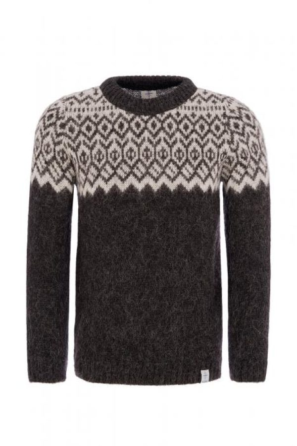 Sweater Borg black with white pattern