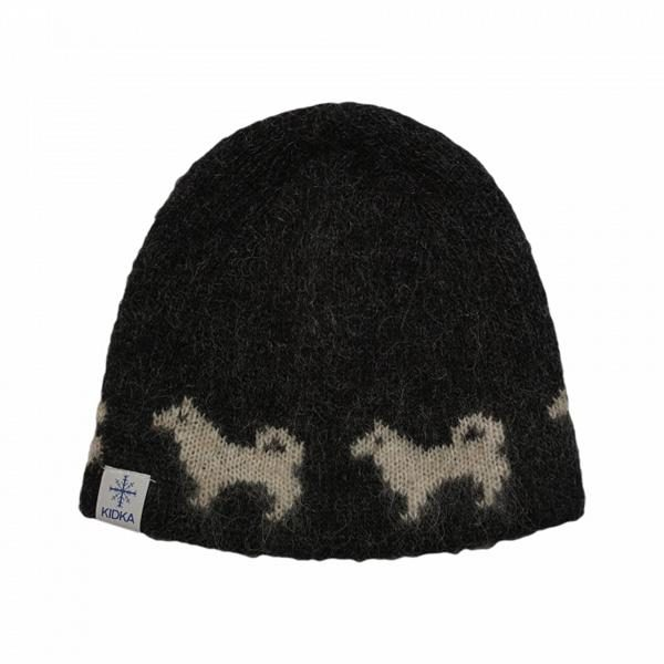 Wool Cap Hundur: Black wool cap with light brown Icelandic sheepdog pattern,lined with cotton.