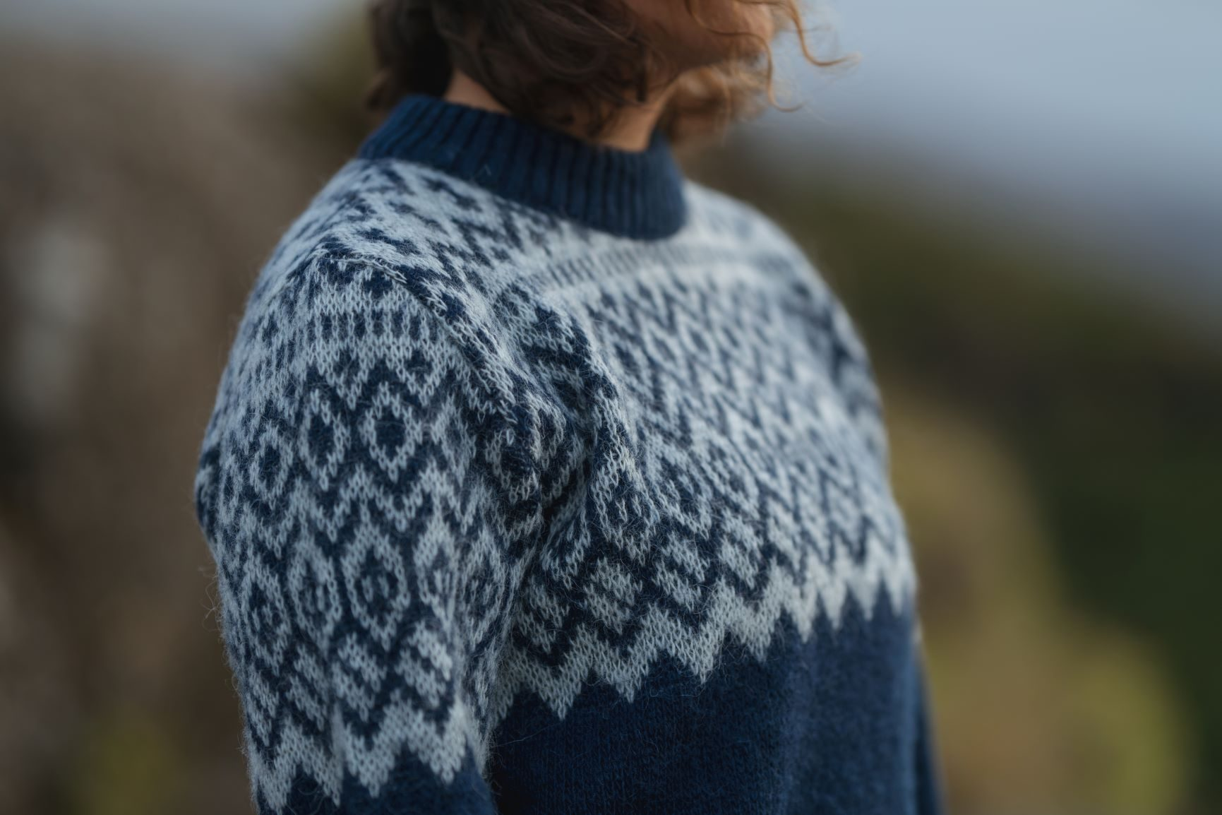 (Deutsch) Sweater Borg blue with white pattern