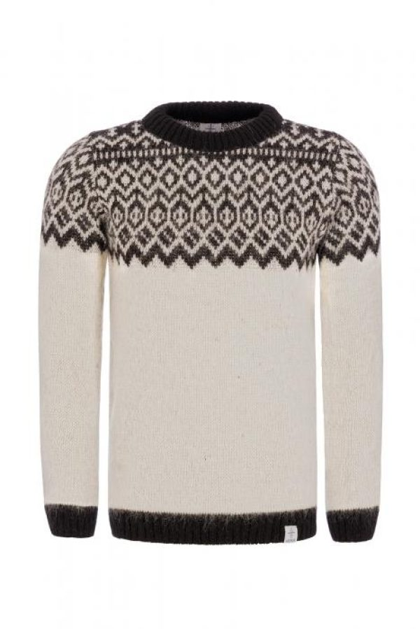 Sweater Borg white with black pattern