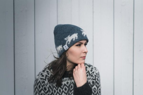 Wool Cap Bangsi: Light blue cap with white Polar Bears, lined with cotton.