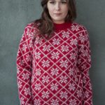 Sweater Fönn: Red sweater with white all-over pattern